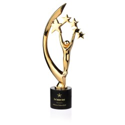 View a larger, more detailed picture of the Masterpiece Cast Metal Achievement Award - 16 - 24K Gold