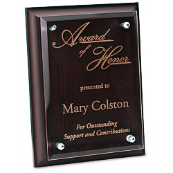 View a larger, more detailed picture of the Walnut Finished Plaque w Jade Glass Plate - 8