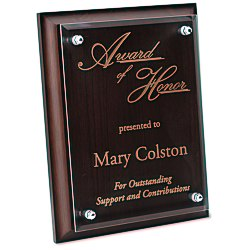 View a larger, more detailed picture of the Walnut Finished Plaque w Jade Glass Plate - 9