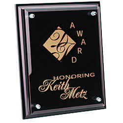 View a larger, more detailed picture of the Black Finished Plaque w Jade Glass Plate - 10 