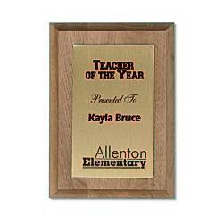 View a larger, more detailed picture of the Walnut Finished Wood Plaque w Aluminum Plate - 7