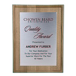 View a larger, more detailed picture of the Walnut Finished Wood Plaque w Aluminum Plate - 12