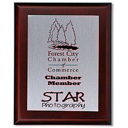 View a larger, more detailed picture of the Cherry Finished Wood Plaque w Aluminum Plate - 10