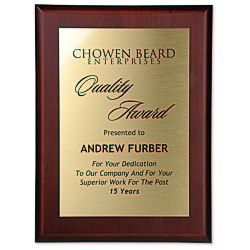 View a larger, more detailed picture of the Cherry Finished Wood Plaque w Aluminum Plate - 12 