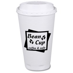 View a larger, more detailed picture of the Trophy Hot Cold Cups w Traveler Lid - 16 oz - Low Quantity