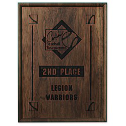 View a larger, more detailed picture of the Walnut Finished Wood Plaque - 12