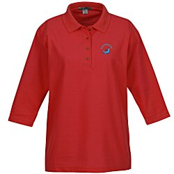 View a larger, more detailed picture of the Port Authority Silk Touch 3 4 Sleeve Polo - Ladies