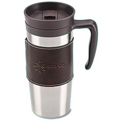 View a larger, more detailed picture of the Cutter & Buck Leather Travel Mug - 14 oz