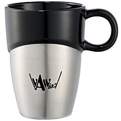 View a larger, more detailed picture of the Double Dipper Ceramic Mug w Stainless Base - 11 oz
