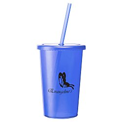 View a larger, more detailed picture of the Sizzle Single Wall Tumbler with Straw - 16 oz - 24 hr