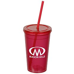 View a larger, more detailed picture of the Economy Double Wall Tumbler w Straw - 16 oz - 24 hr
