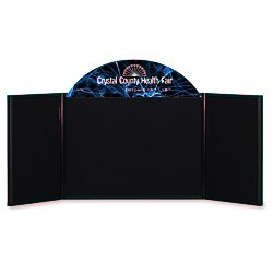 View a larger, more detailed picture of the Briefcase Tabletop Display w Curved Header - 18 x 48