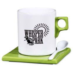 View a larger, more detailed picture of the Square Root Saucer Mug w Spoon - 11 oz - Closeout