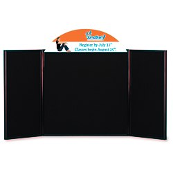 View a larger, more detailed picture of the Briefcase Tabletop Display w Curved Header - 24 x 48