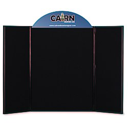 View a larger, more detailed picture of the Briefcase Tabletop Display w Curved Header - 32 x 48