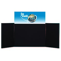 View a larger, more detailed picture of the Briefcase Tabletop Display w Rectangular Header - 24 x 64