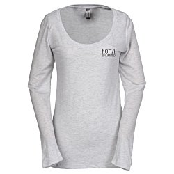 View a larger, more detailed picture of the Next Level Tri-Blend LS Scoop Tee - Ladies - White