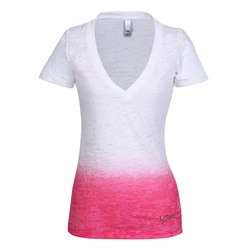 View a larger, more detailed picture of the Next Level Ombre Burnout Deep V Tee - Ladies