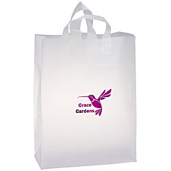 View a larger, more detailed picture of the Soft-Loop Frosted Clear Shopper - 17 x 13 - Foil
