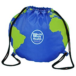 View a larger, more detailed picture of the Globe Drawstring Backpack