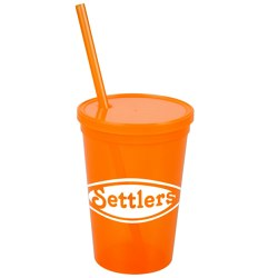 View a larger, more detailed picture of the Stadium Cup w Lid & Straw - 16 oz - Jewel