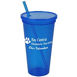 View a larger, more detailed picture of the Stadium Cup w Lid & Straw - 24 oz - Jewel