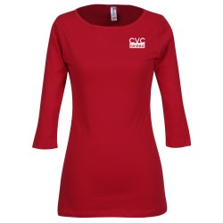 View a larger, more detailed picture of the Bella 1 2 Sleeve Boatneck T-Shirt - Colors