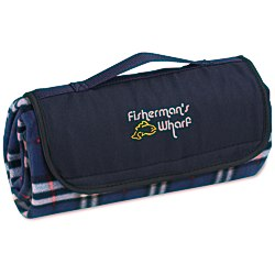 View a larger, more detailed picture of the Roll-Up Blanket Navy White Plaid with Navy Flap