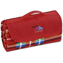 View a larger, more detailed picture of the Roll-Up Blanket Red Blue Plaid w Red Flap