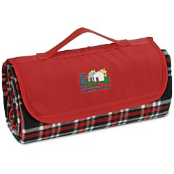 View a larger, more detailed picture of the Roll-Up Blanket Black Red Plaid w Red Flap