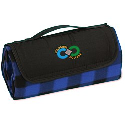 View a larger, more detailed picture of the Roll-Up Blanket Blue Black Plaid w Black Flap