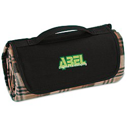 View a larger, more detailed picture of the Roll-Up Blanket Brown Black Plaid with Black Flap