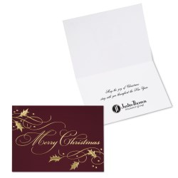 View a larger, more detailed picture of the Burgundy Christmas Greeting Card