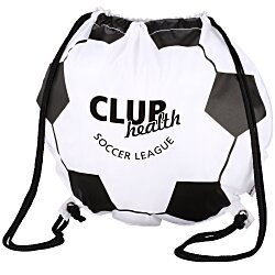 View a larger, more detailed picture of the Game Time Soccer Ball Drawstring Backpack - 24 hr