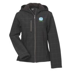 View a larger, more detailed picture of the Cabrillo Plaid Soft Shell Hooded Jacket - Ladies 