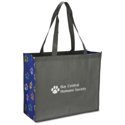 View a larger, more detailed picture of the Non-woven Motif Carry All - Paws - Closeout