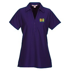 View a larger, more detailed picture of the Vertical Texture Performance Pique Polo - Ladies