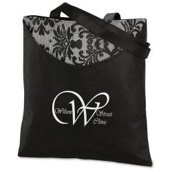 View a larger, more detailed picture of the Designer Print Scoop Tote - Black Lace