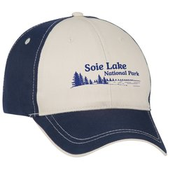 View a larger, more detailed picture of the Two-Tone Polyester Cap w Contrast Stitch - Transfer