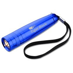 View a larger, more detailed picture of the Small Aluminum Flashlight with Strap - Closeout