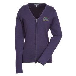 View a larger, more detailed picture of the Varna Full Zip V-Neck Sweater - Ladies - Closeout