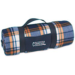 View a larger, more detailed picture of the Galloway Travel Blanket Blue Rust Plaid