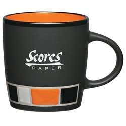 View a larger, more detailed picture of the Color Block Ceramic Mug - Black - 14 oz