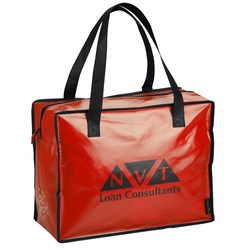 View a larger, more detailed picture of the Laminated Polypropylene Zippered Box Tote-Closeout