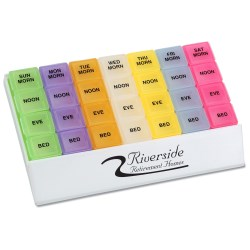 View a larger, more detailed picture of the Micro Rainbow 24 7 Medicine Tray Organizer - Closeout