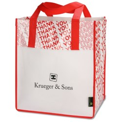 View a larger, more detailed picture of the Laminated Thank You Big Grocery Tote - Closeout