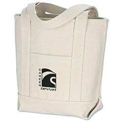 View a larger, more detailed picture of the Solid Cotton Yacht Tote - Natural - 12 x 14-1 2