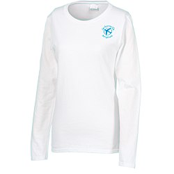 View a larger, more detailed picture of the Gildan 5 3 oz Cotton LS T-Shirt - Ladies - Screen - White