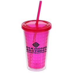 View a larger, more detailed picture of the Diamond Tumbler w Straw - 16 oz