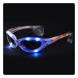 View a larger, more detailed picture of the Blinking Sunglasses - Red White & Blue